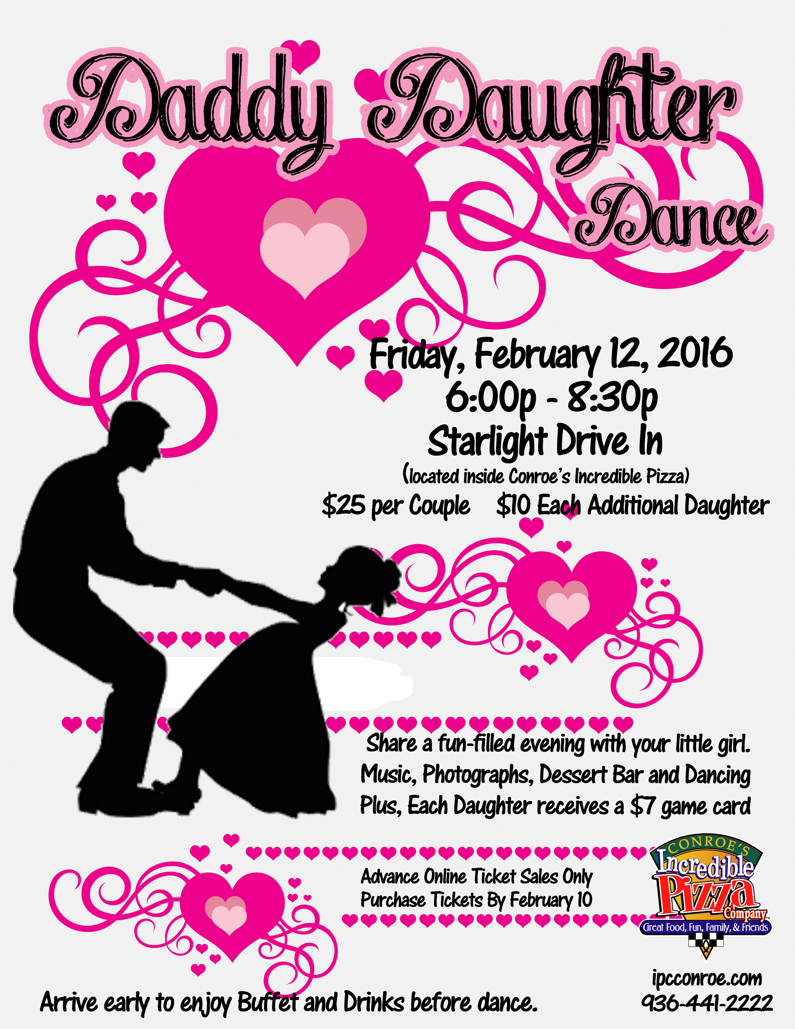 Daddy Daughter Dance  Feb 12  Incredible Pizza Company  Enjoy