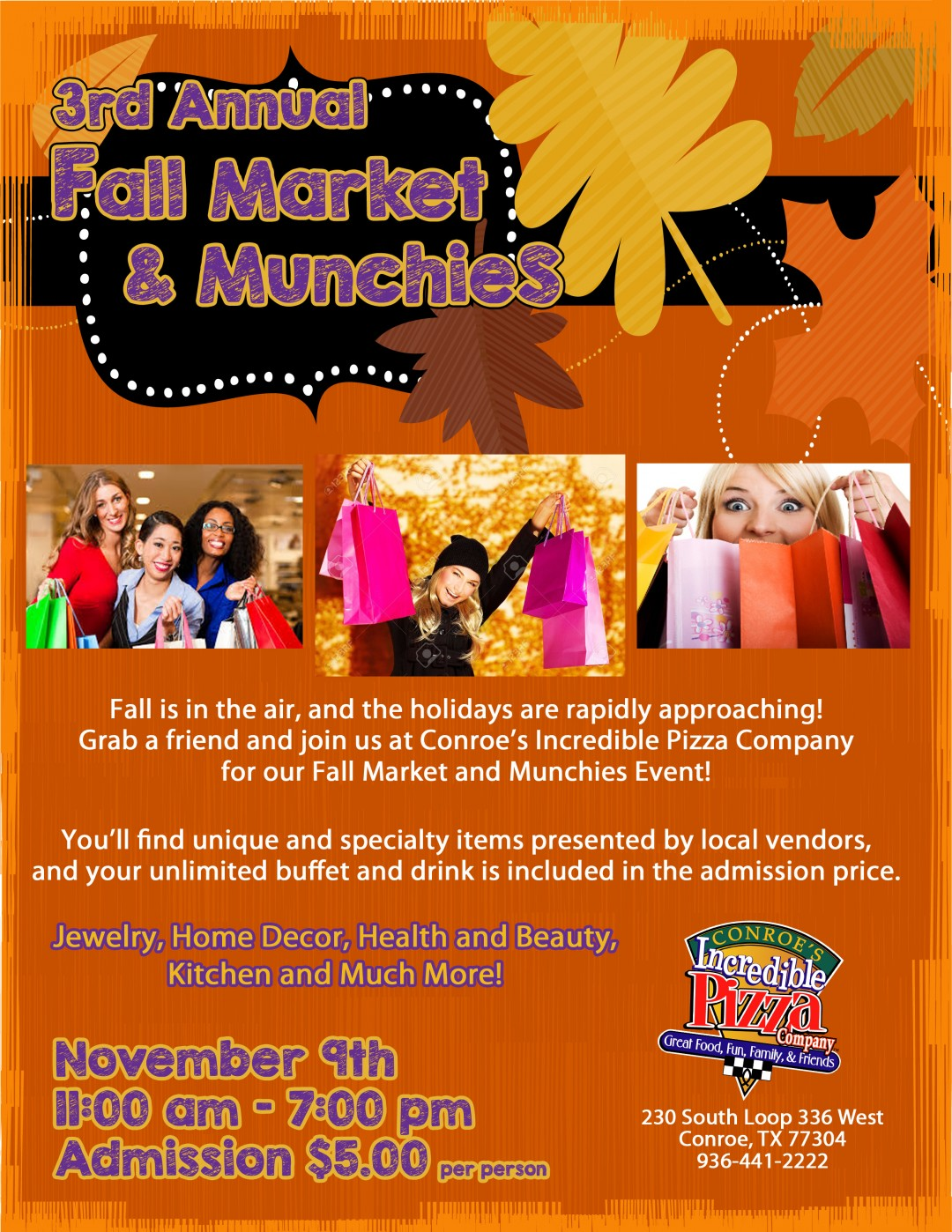 3rd Annual Fall Market & Munchies – Nov. 9