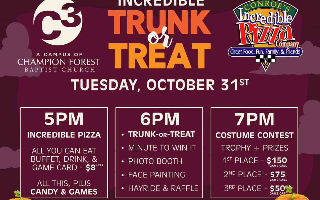 Incredible Trunk or Treat – Oct. 31