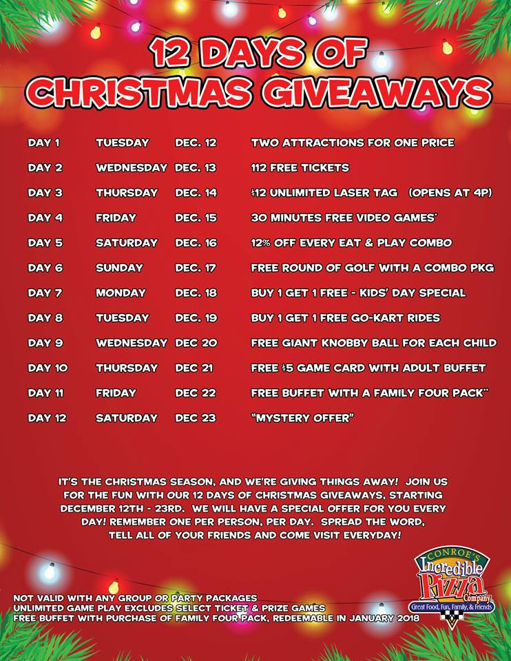 12 Days of Christmas Giveaways – Beginning Tues., Dec. 12!
