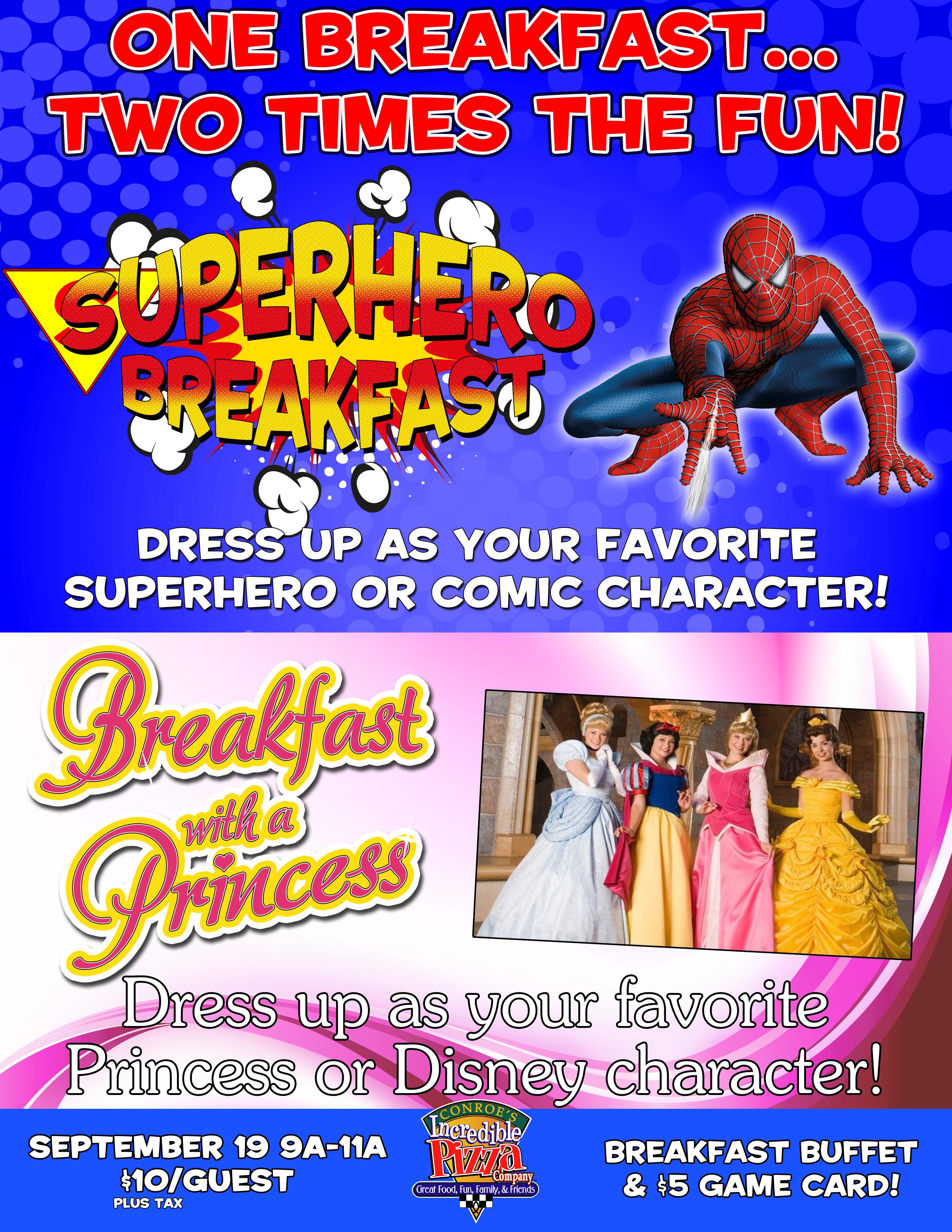Superhero and Princess Breakfast